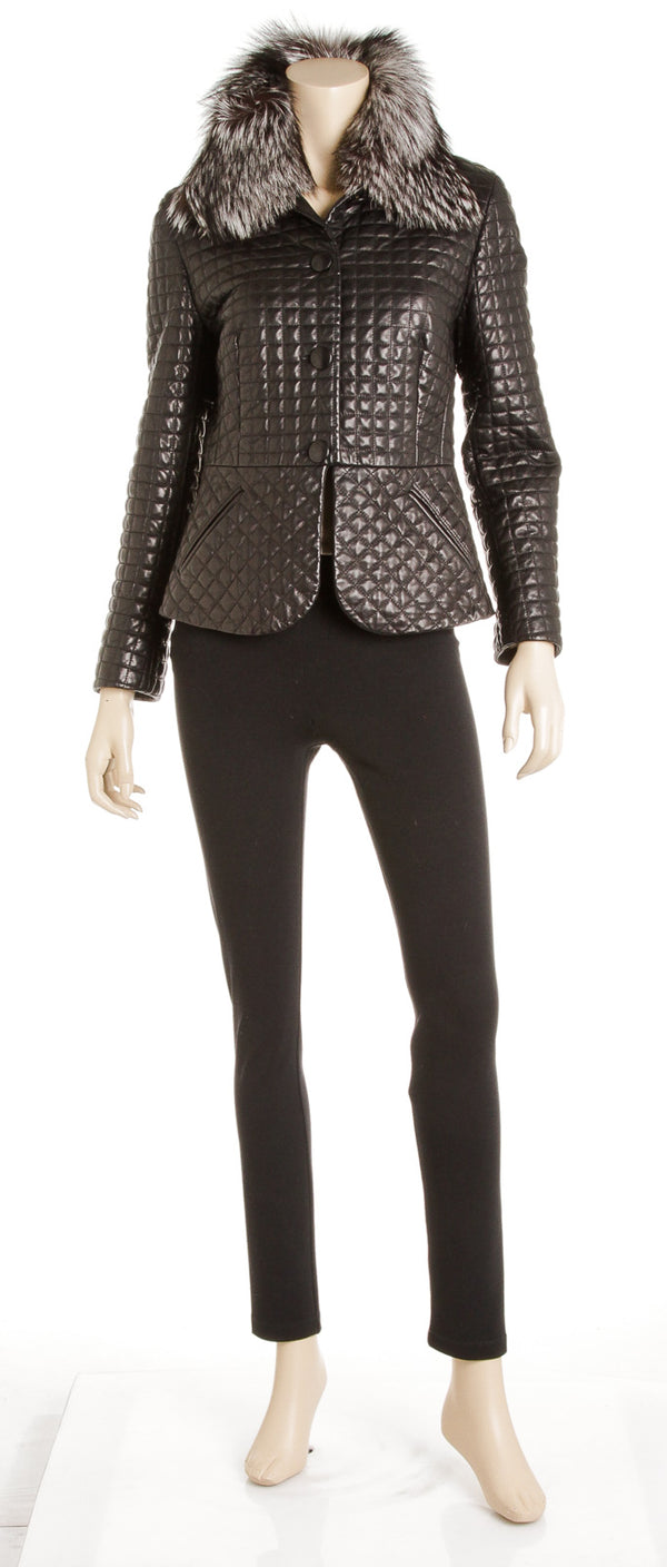 Escada Black Leather Jacket (Size 38)