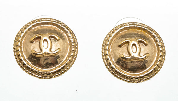 Chanel Gold CC Button Earrings