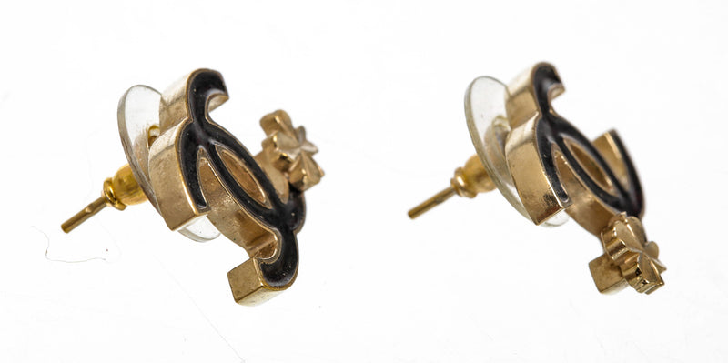 Chanel Black Enamel and Gold CC Clover Earrings