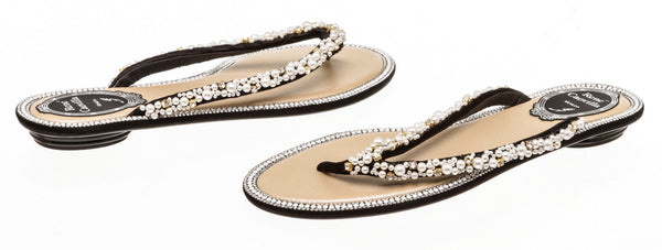 Rene Caovilla Black and Pearl Thong Flat Sandals Size 37.5