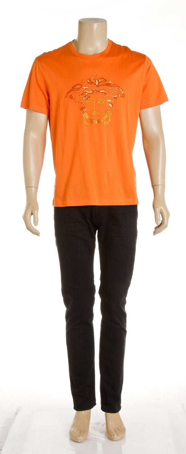 Versace Orange Sequin Medusa Men's Tee (Size XL)