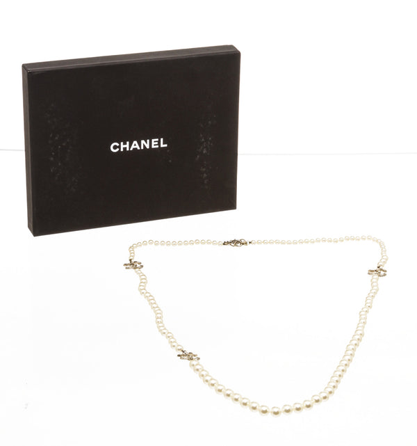 Chanel Gold and Black Crystal Pearl Necklace