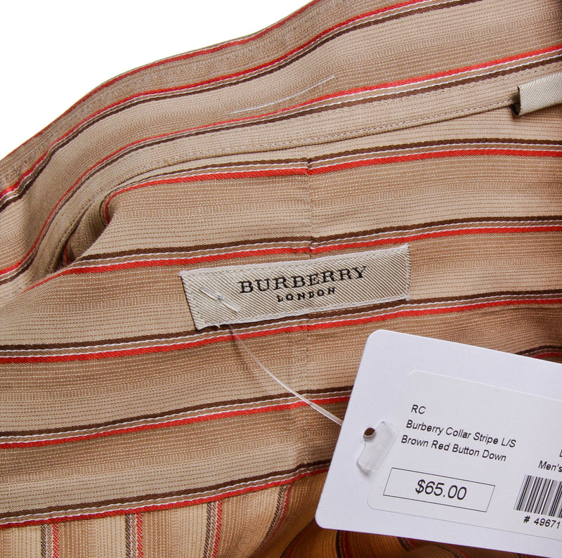 Burberry Brown Striped Collar Long Sleeve (Size L)