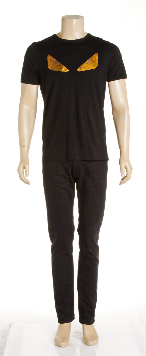 Fendi Black Cotton Bugs T-Shirt (Size 48)