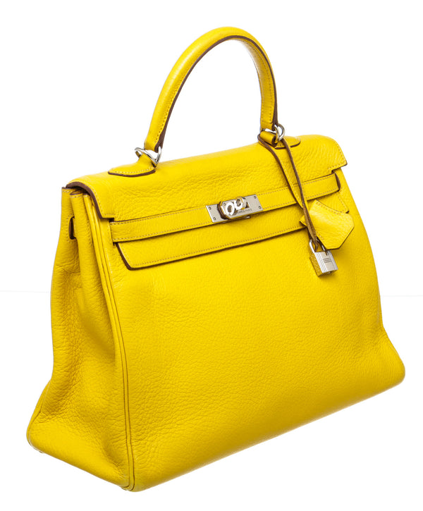 Hermes Soleil Yellow Togo Leather Kelly 35cm PHW Bag