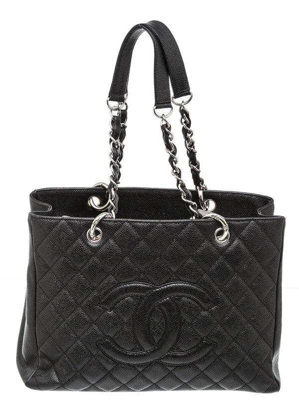 Chanel Black Caviar Leather Grand Shopper Tote GST Bag