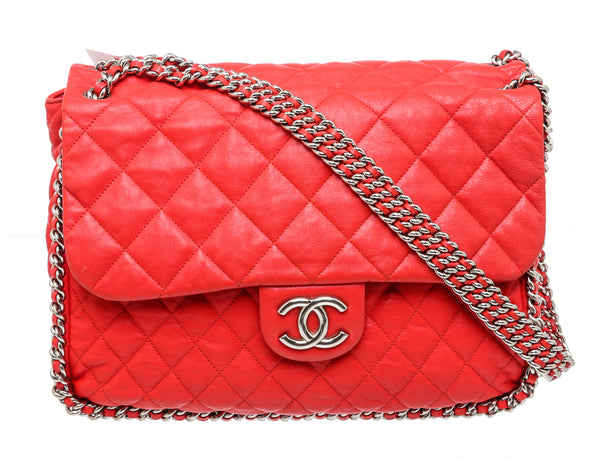 Chanel Red Lambskin Quilted Chain Around Maxi Flap Bag SHW