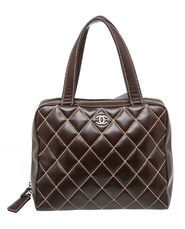 Chanel Brown Calfskin Leather Quilted Wild Top Stitch Bag