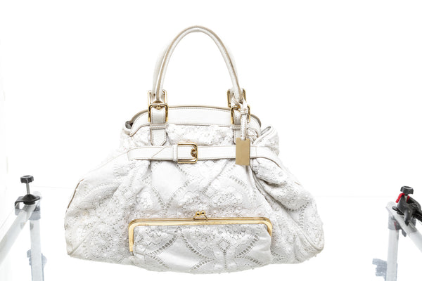 Dolce & Gabbana White Leather and Lace Satchel Bag