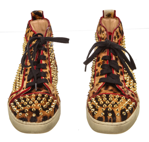 Christian Louboutin Leopard 'Louis' Studded Sneakers (Size 36.5)
