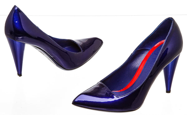 Alexander McQueen Cobalt Blue Patent Leather Pump (Size 36.5)