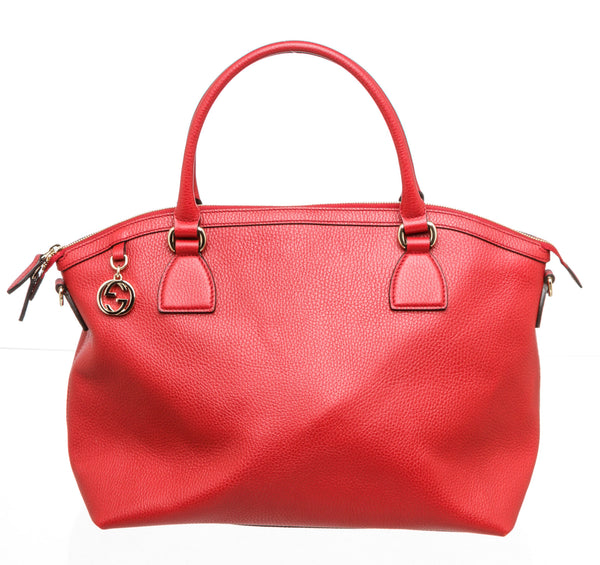 Gucci Red Leather GG Charm Convertible Dome Bag