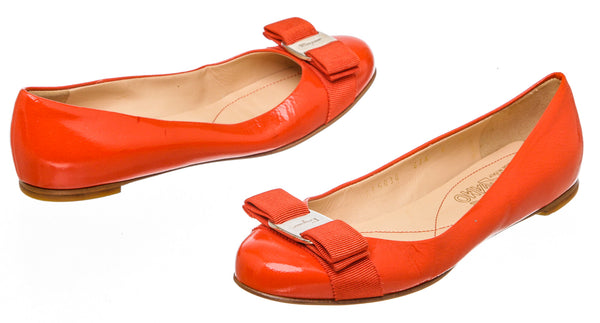 Salvatore Ferragamo Red Patent Leather Varina Flats (Size 6)