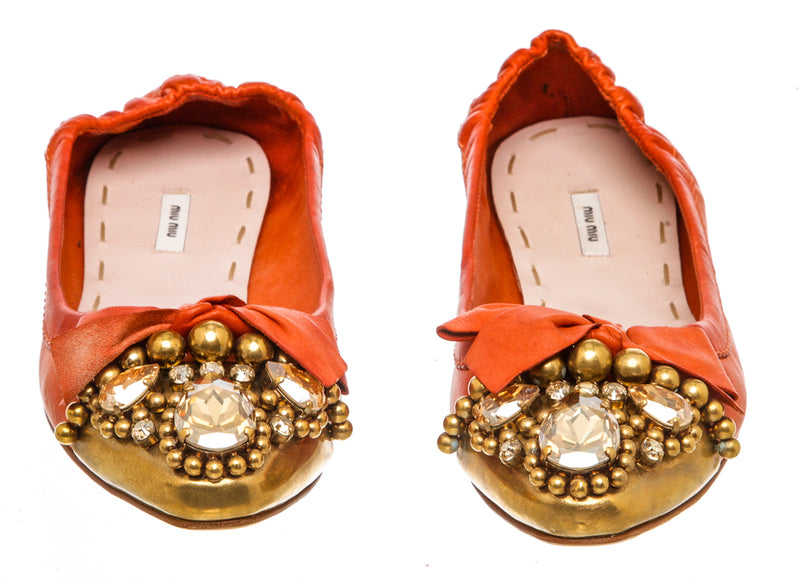 Miu Miu Red Leather Embellished Metal Cap Toe Flats (Size 36.5)
