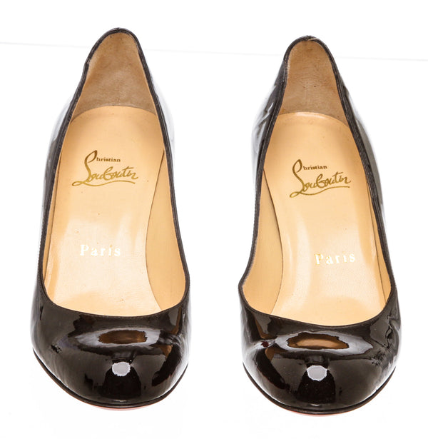 Christian Louboutin Black Patent Simple Pump (Size 36)