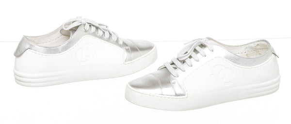 Chanel Metallic White & Silver CC Sneakers ( Size 39.5 )