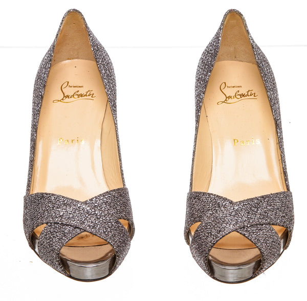 Christian Louboutin Dark Silver Shelley Lady Glitter Pump (Size 36)