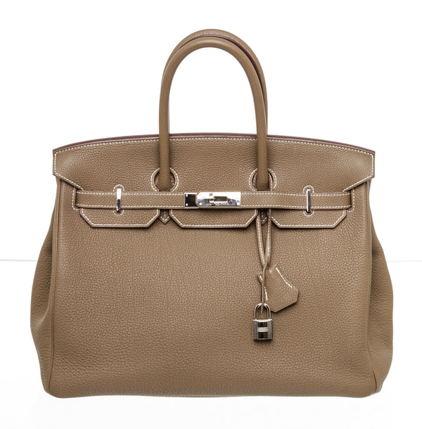 Hermes 35cm Etoupe Togo Leather Palladium Hardware Birkin