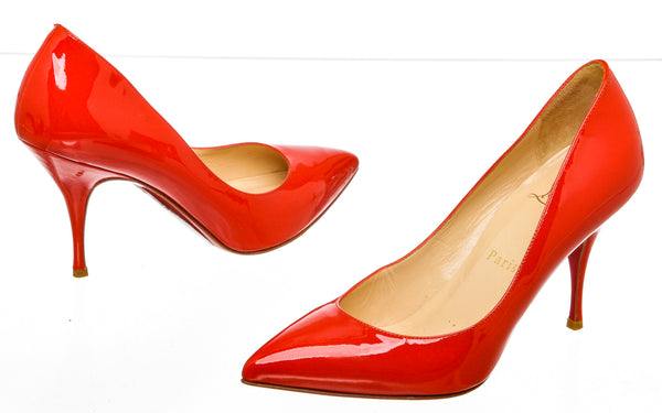 Christian Louboutin Red Patent Leather Piou Piou Pump (Size 36.5)