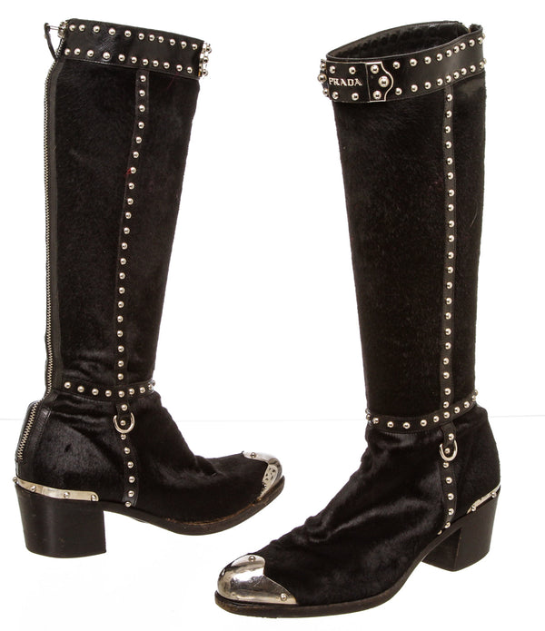 Prada Black Ponyhair and Leather Western Knee High Boots (Size 36.5)