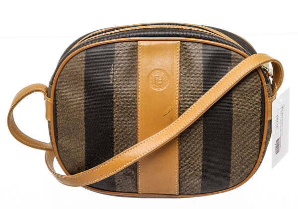 Fendi Tan & Black Stripe Pequin Canvas Crossbody