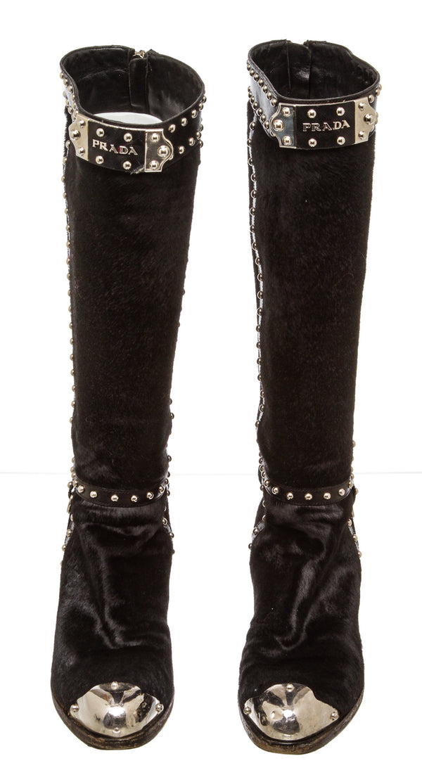 Prada Black Ponyhair and Leather Western Knee-High Boots (Size 36.5)