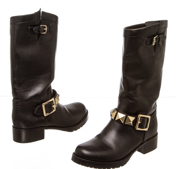 Valentino Black Leather Rockstud Moto Boots (Size 6.5)