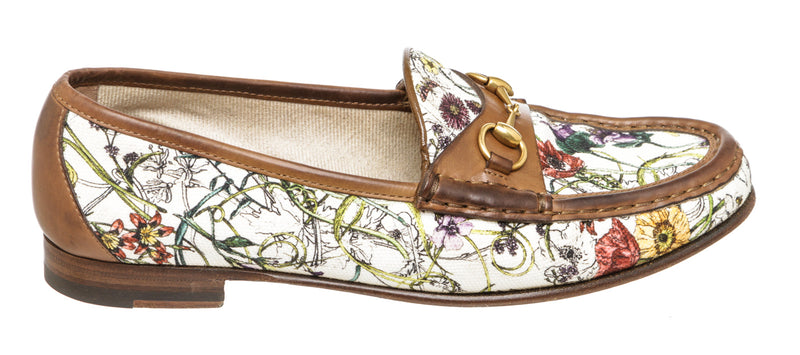 Gucci Floral Horsebit White Loafers (Size 38)
