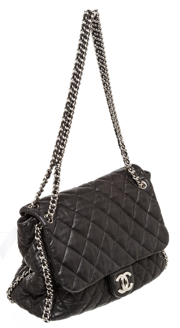 Chanel Black Leather Maxi Chain Around Silver Hardware