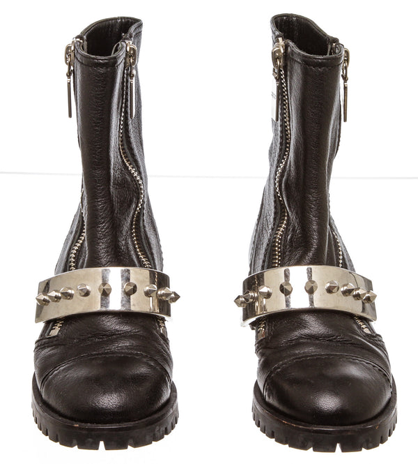 Alexander McQueen Black Leather Studded Plate Biker Boots (Size 36)