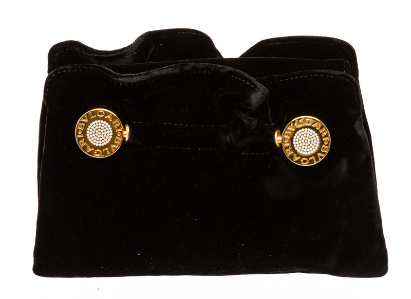 Bvlgari Black Velvet Clutch Gold Hardware