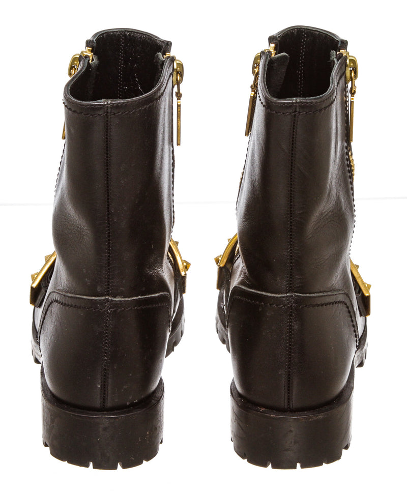Alexander McQueen Black Leather Studded Plate Biker Boots (Size 37)