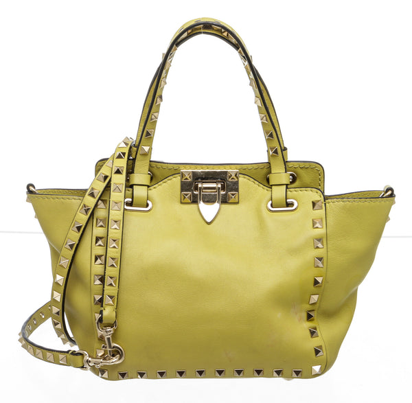 Valentino Lime Yellow Leather Mini Rockstud Tote Bag