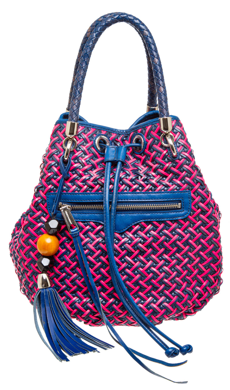 Rebecca Minkoff Blue and Pink Woven Leather Bucket Bag
