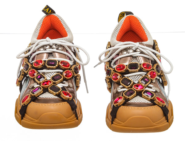 Gucci Tan Flashtrek Hiker Sneaker With Chain Strap (Size 37)