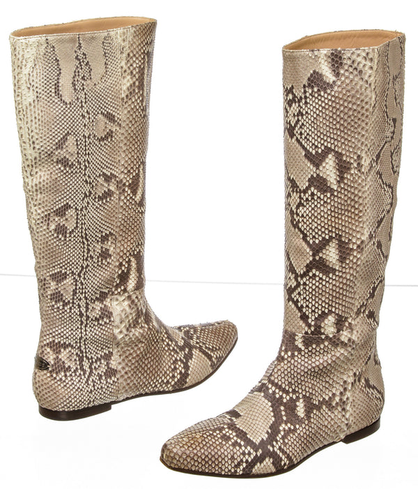 Roberto Cavalli Natural Snakeskin Knee-High Boots (Size 37)
