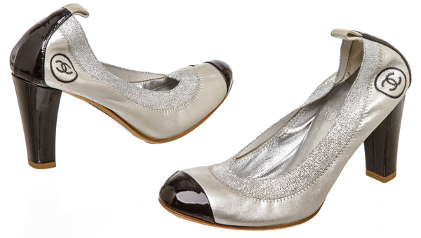 Chanel Metallic Silver Cap Toe Pump (Size 36)
