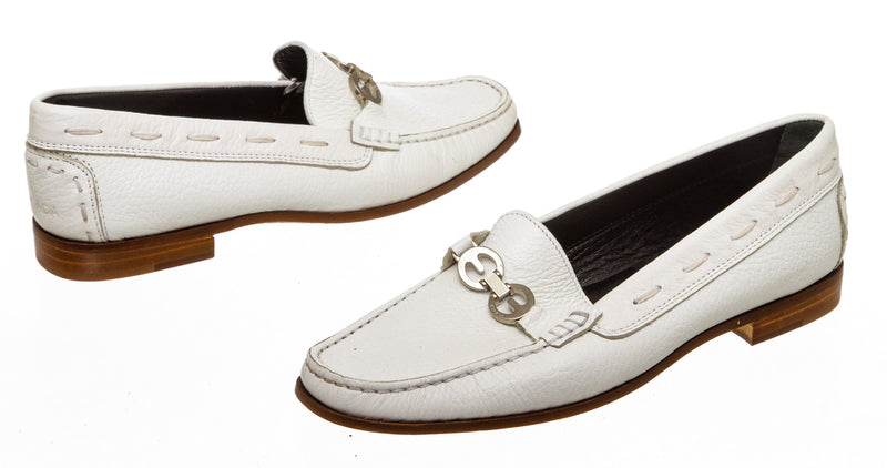 Escada White Pebbled Leather Penny Loafers (Size 35.5)