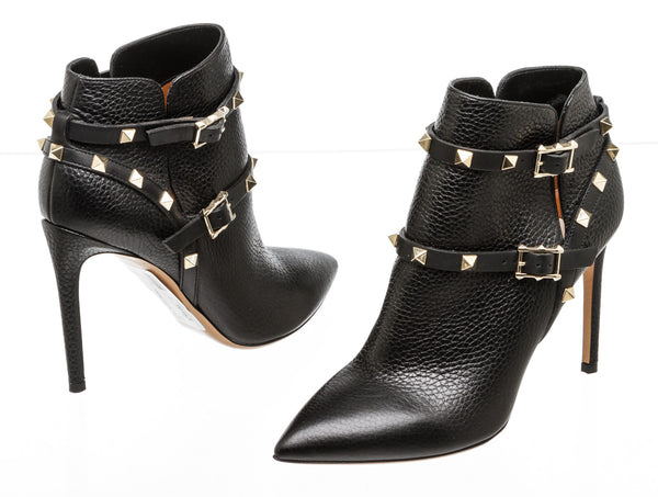 Valentino Black Calfskin Leather Rockstud Booties (Size 36.5)