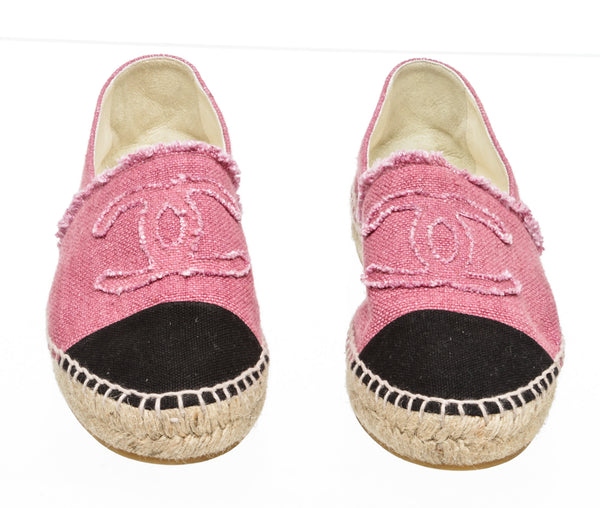 Chanel Pink and Black Cap-toe Linen Espadrilles (Size 37)