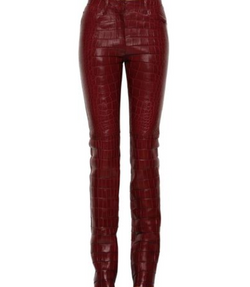 Roberto Cavalli Burgundy Leather Trouser Pants NEW Size 38
