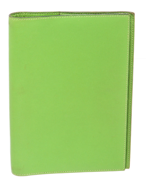 Hermes Green Chamonix Leather Agenda Cover