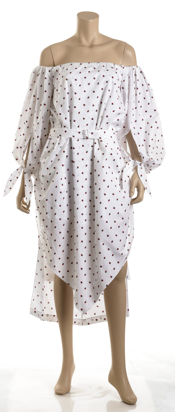 YSL White Cotton P2010 Strawberry Print Dress (Size 36)