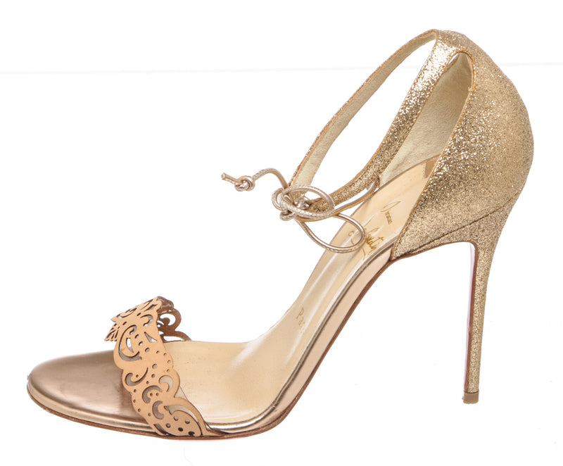 Christian Louboutin Nude Laser-Cut Sandals (Size 37.5)