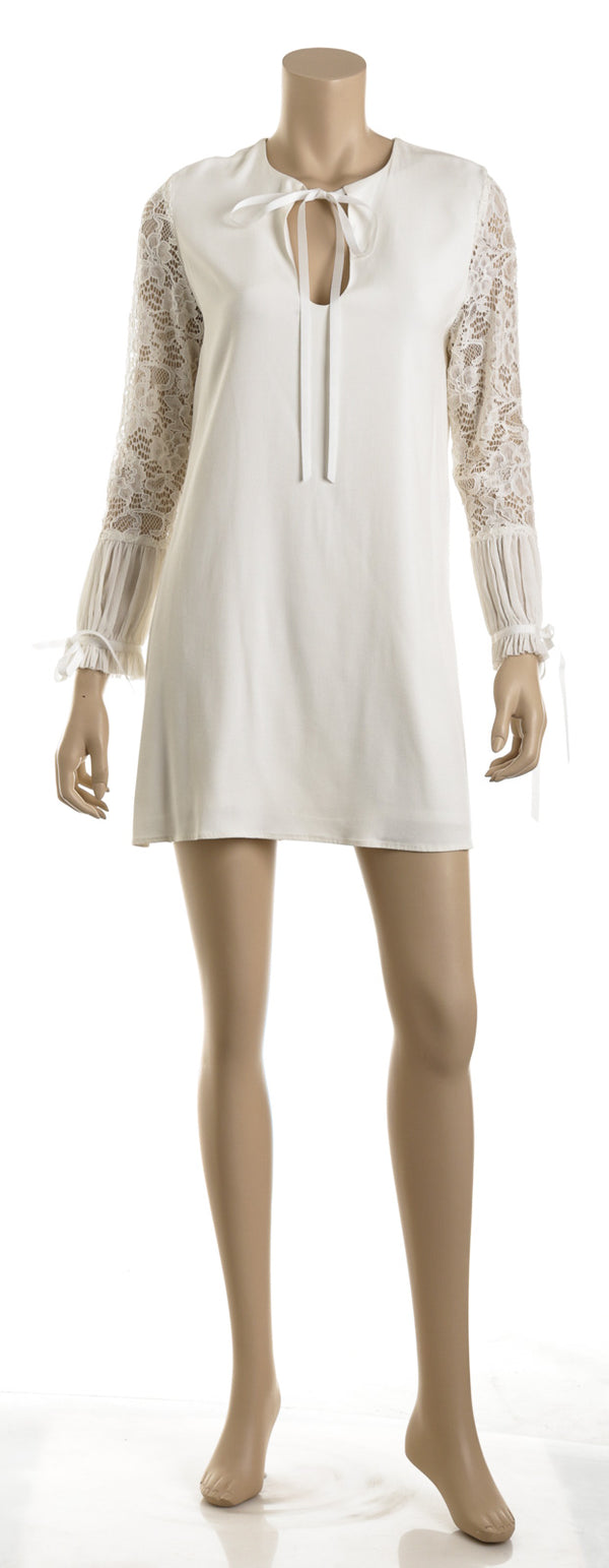 Alexis White Crepe and Lace Shift Dress (Size M)