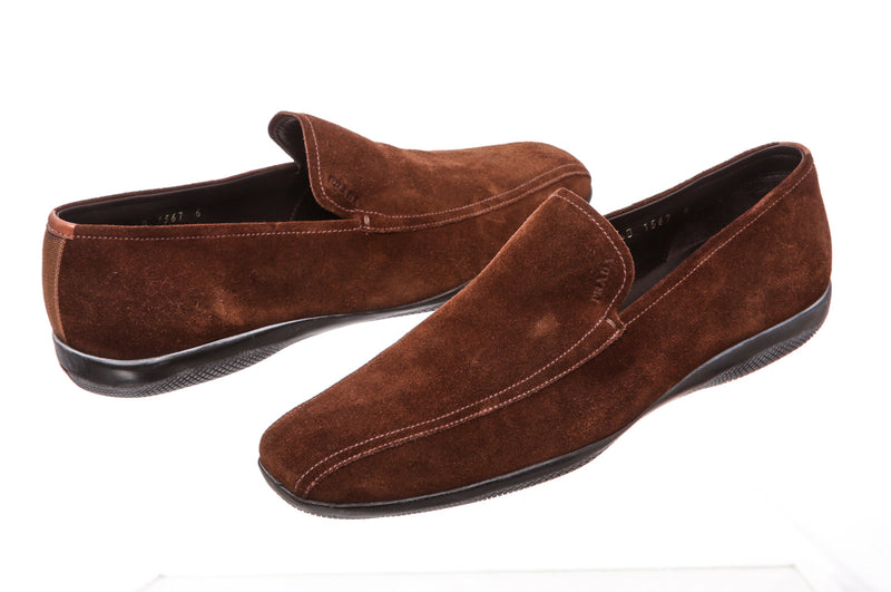 Prada Brown Suede Loafers (Size 6)