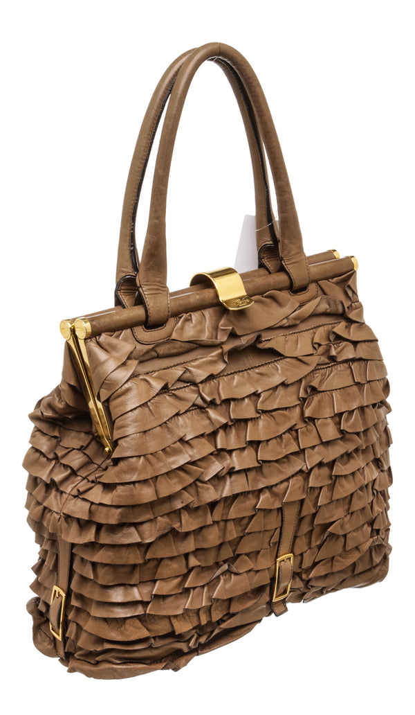 Valentino Taupe Nappa Leather Tiered Ruffle Handbag