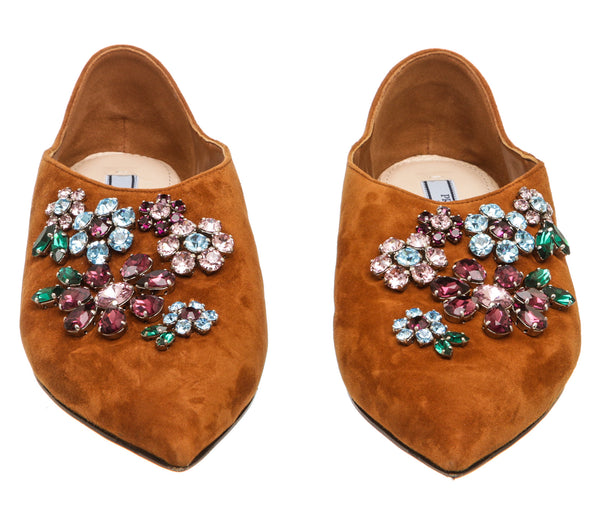 Prada Tan Suede Crystal Embellished Pointy-Toe Flats (Size 36)