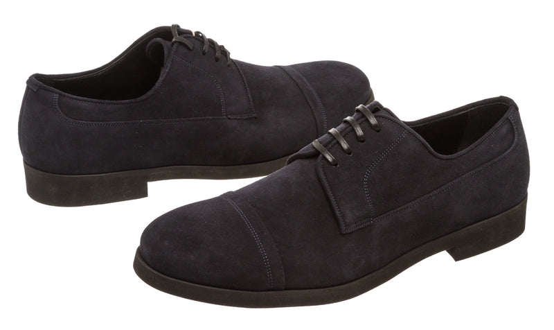 Dolce & Gabbana Navy Blue Suede Men's Derby Shoes (Size 8)