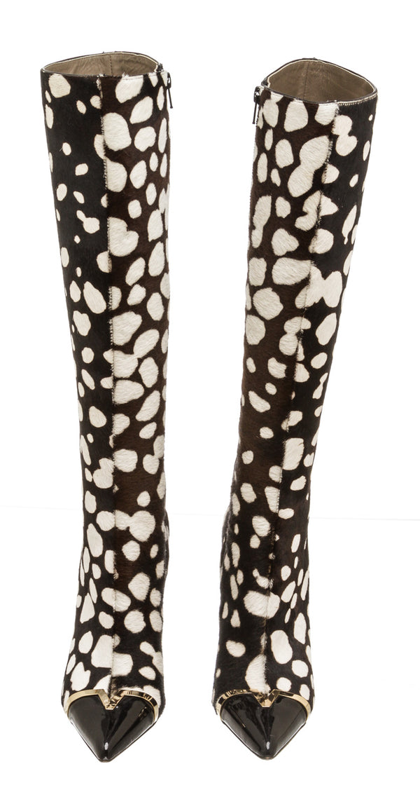 Versace Leopard Print Calf Hair Knee-High Boots (Size 40)